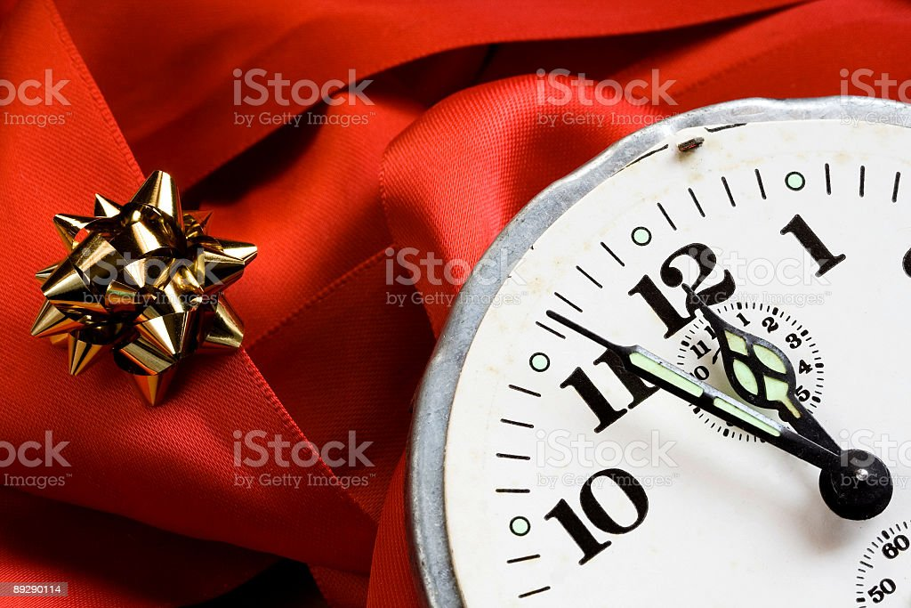Clock, midnight and gift. royalty-free stock photo