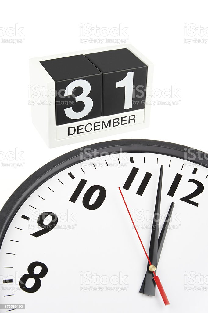 Clock Nears Midnight on New Year's Eve December 31 stock photo