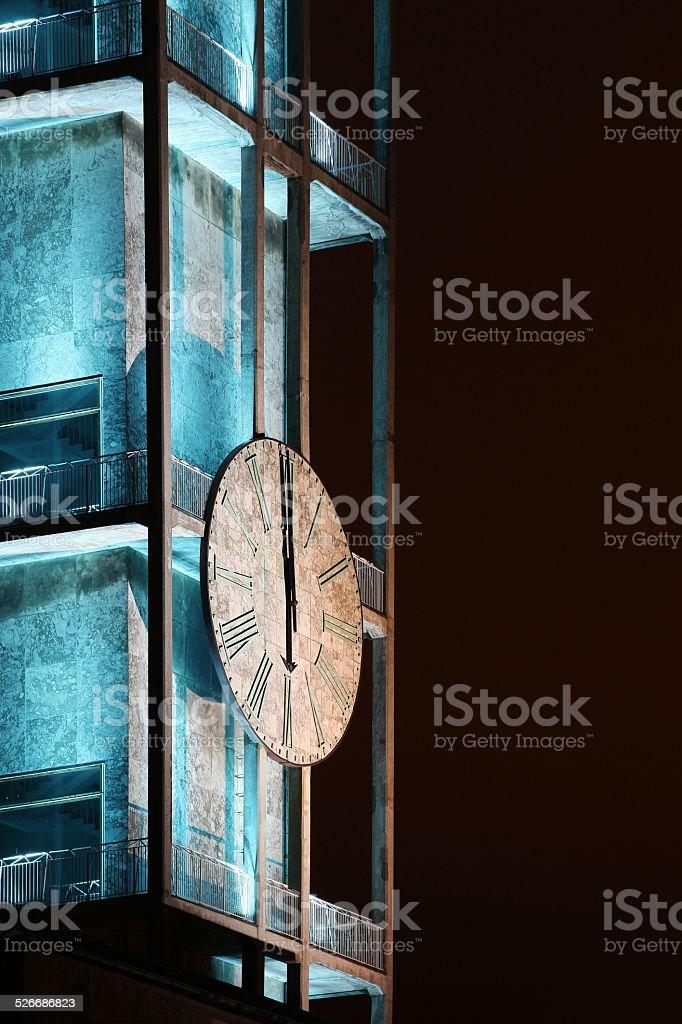 Clock of Aarhus city hall stock photo