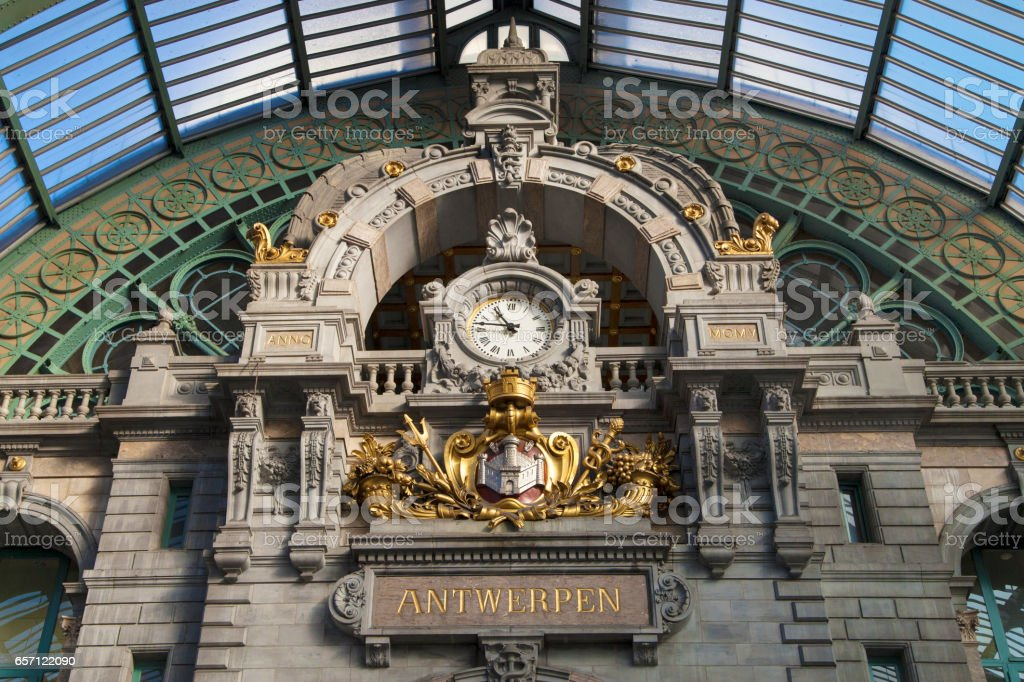 Clock of Antwerp Central Railway Station stock photo