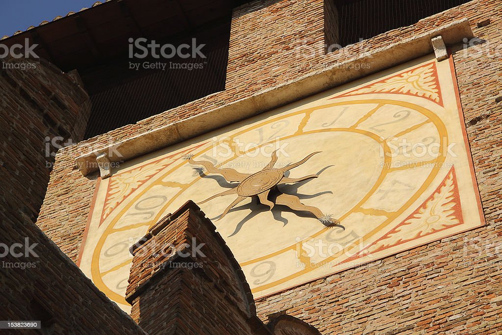 Clock of old Castle in Verona, Italy royalty-free stock photo