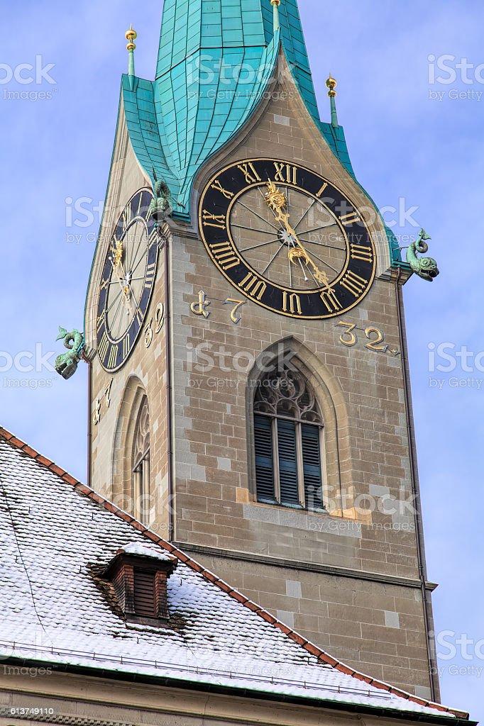 Clock of the Fraumunster cathedral in Zurich, Switzerland stock photo