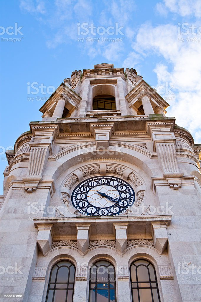 Clock of the Tower of Town Hall in Porto stock photo