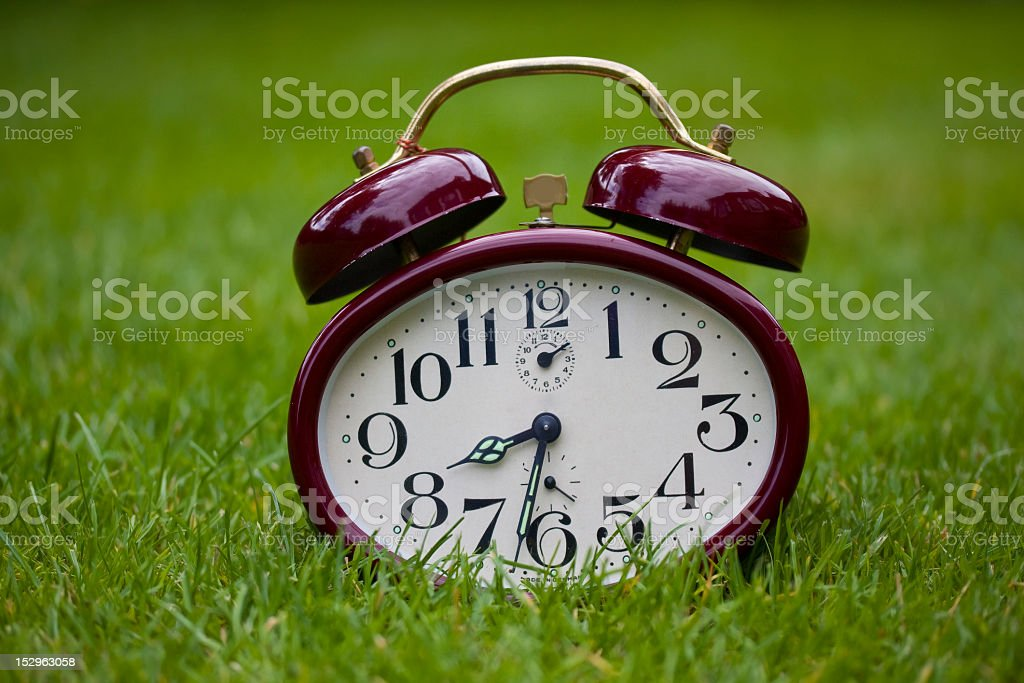 Clock on a grass royalty-free stock photo