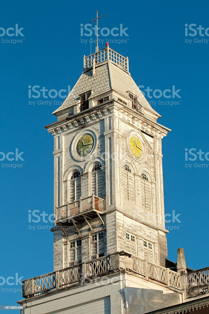 Clock on bell tower stock photo