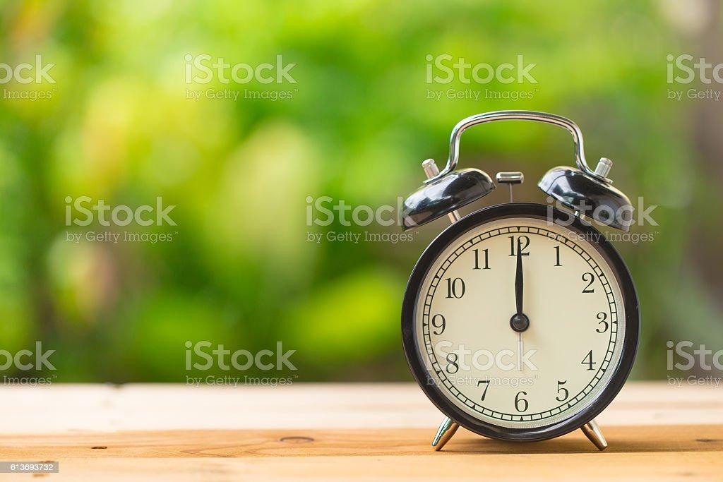clock on green garden time at 12 o'clock stock photo
