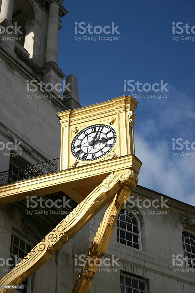Clock on Leeds Civic Hall royalty-free stock photo