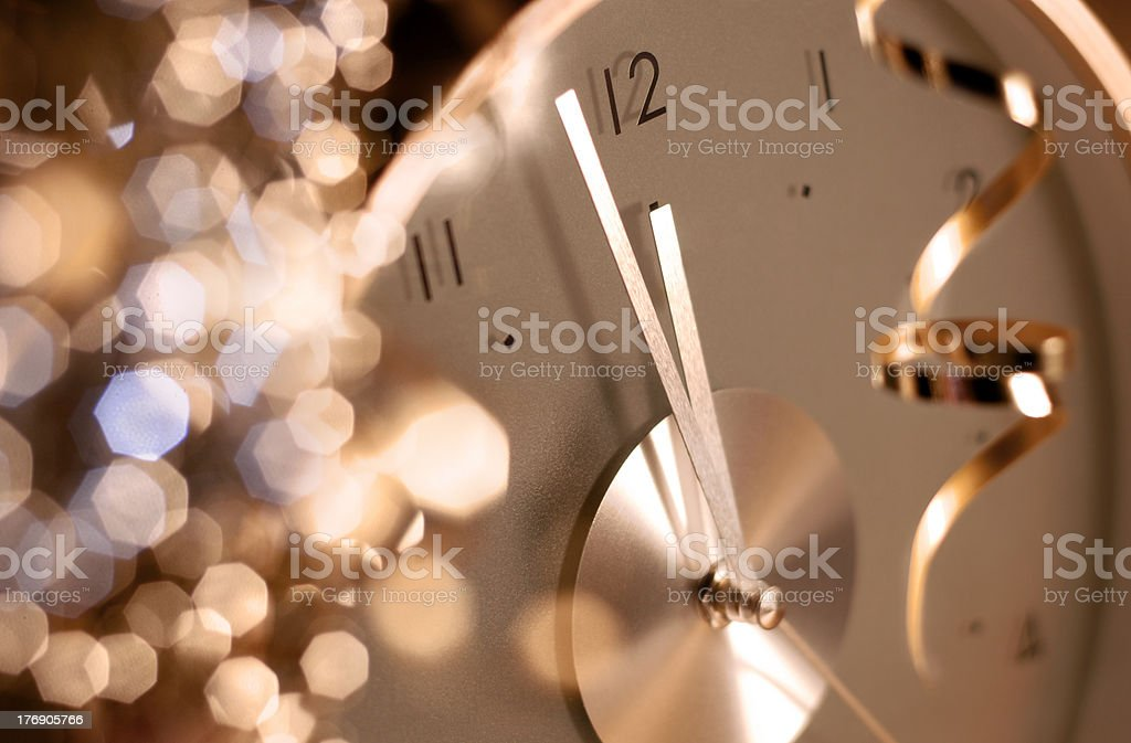 clock on new year's eve stock photo