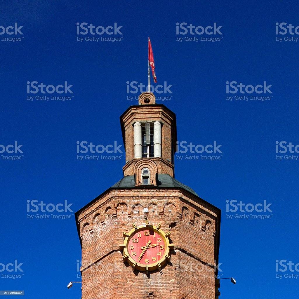 Clock on old Water tower in Vinnitsa. stock photo