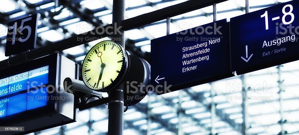 Clock on railway station royalty-free stock photo