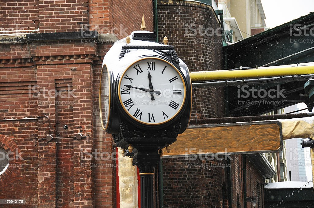 clock on snow royalty-free stock photo