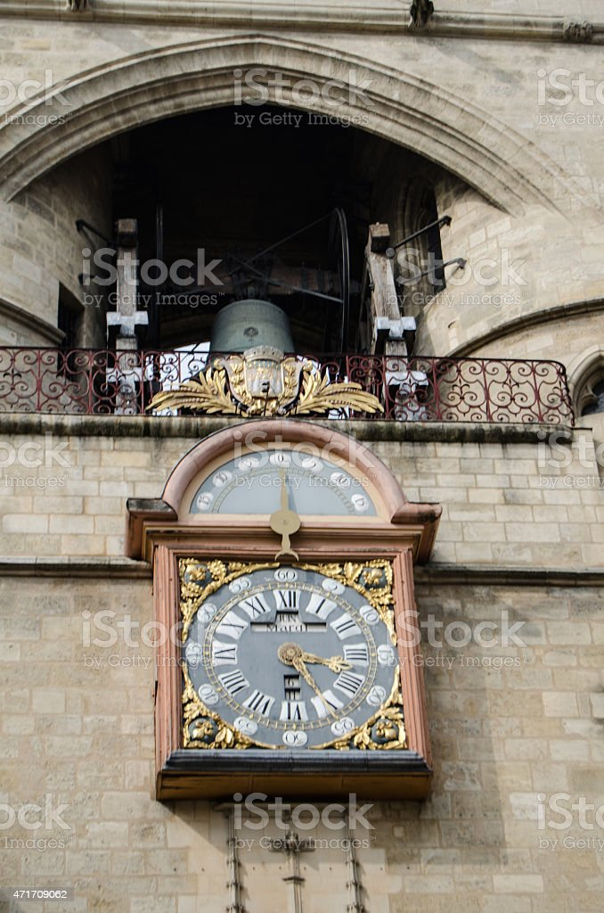 Clock on the medieval tower stock photo