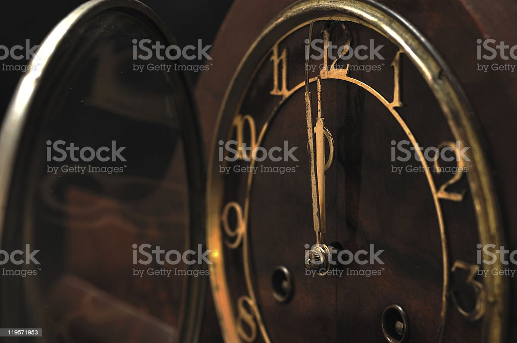 12 O'Clock on the Wooden Clock stock photo