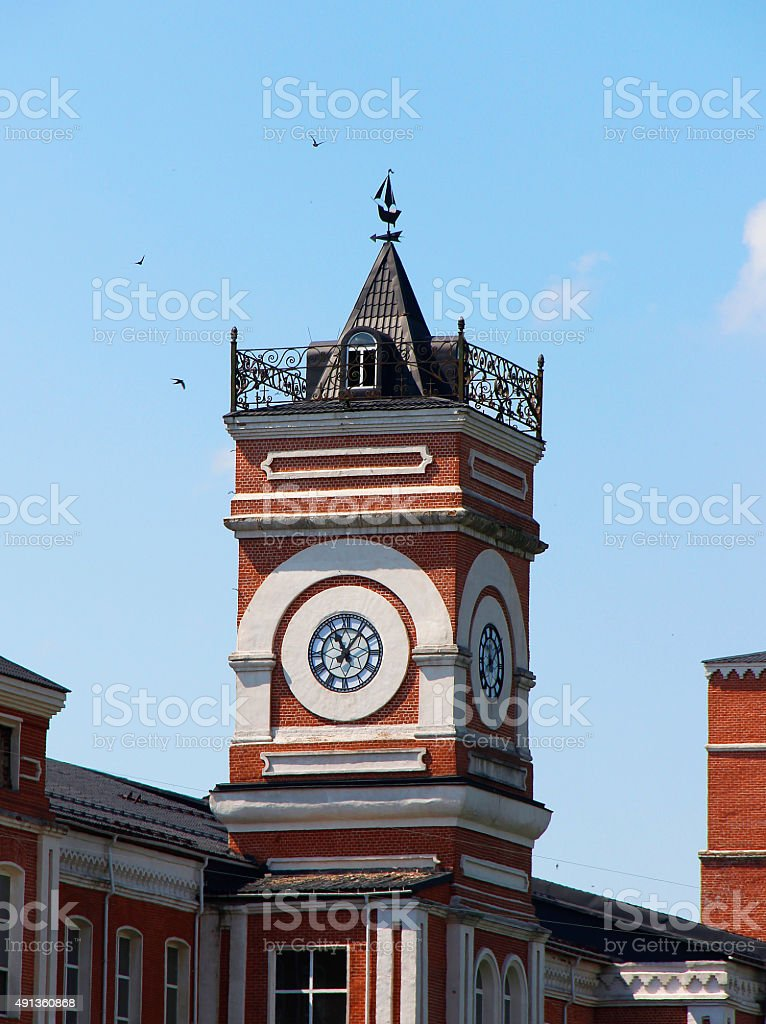 Clock on tower stock photo
