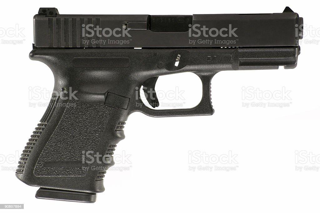 Clock pistol black isolated on white royalty-free stock photo