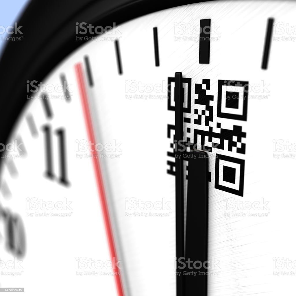 Clock reaching noon with qr code royalty-free stock photo