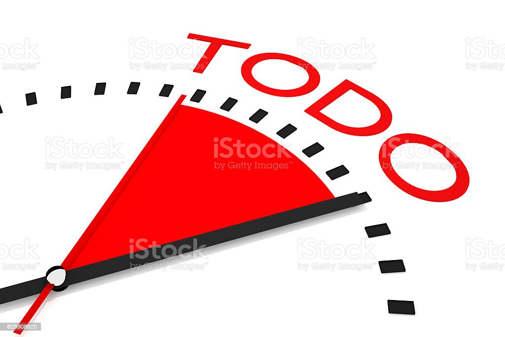 clock red seconds hand area organized 3d Illustration stock photo