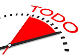 clock red seconds hand area organized 3d Illustration