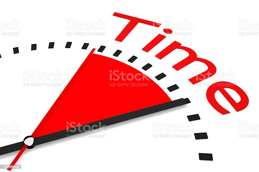 clock red seconds hand area time 3d Illustration stock photo