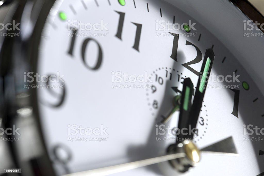 Clock showing 12 o'clock stock photo