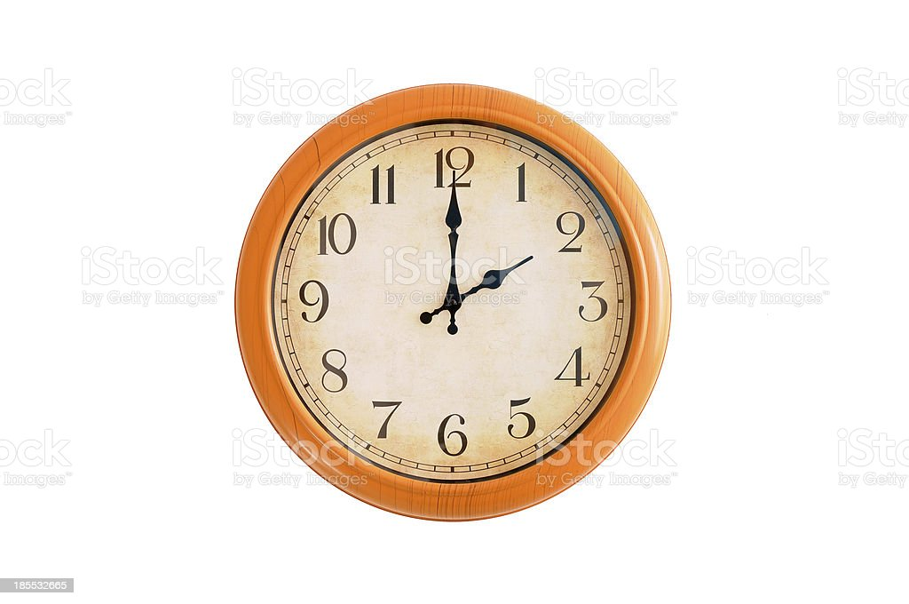 Clock showing 2 O'clock on a white wall royalty-free stock photo