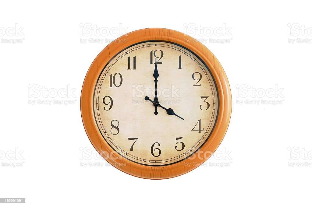 Clock showing 4 O'clock on a white wall royalty-free stock photo