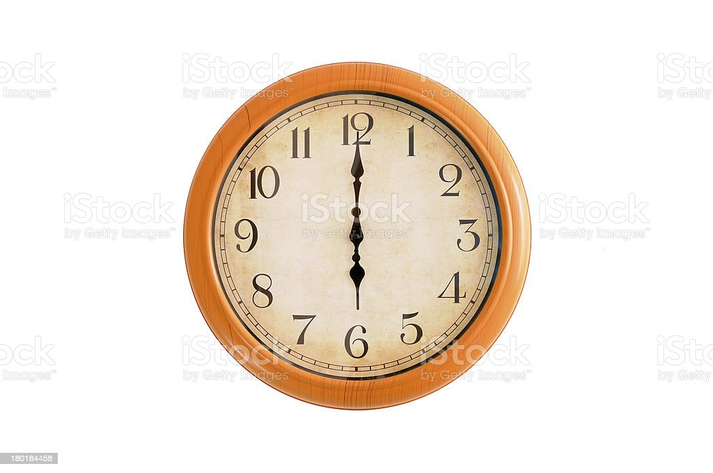 Clock showing 6 o'clock on a white wall royalty-free stock photo