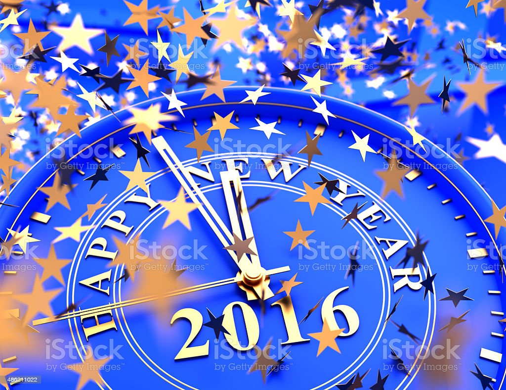 clock showing last Minutes to 2016 and falling stars confetti stock photo