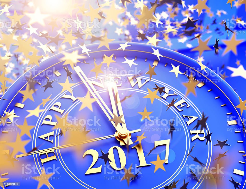 clock showing last Minutes to 2017 and falling stars confetti stock photo