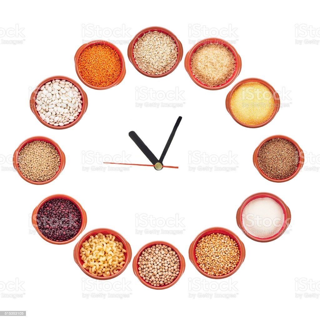 Clock shows what type of grain to eat stock photo