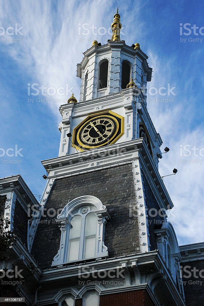 clock tower and City Hall Norwich Connecticut stock photo