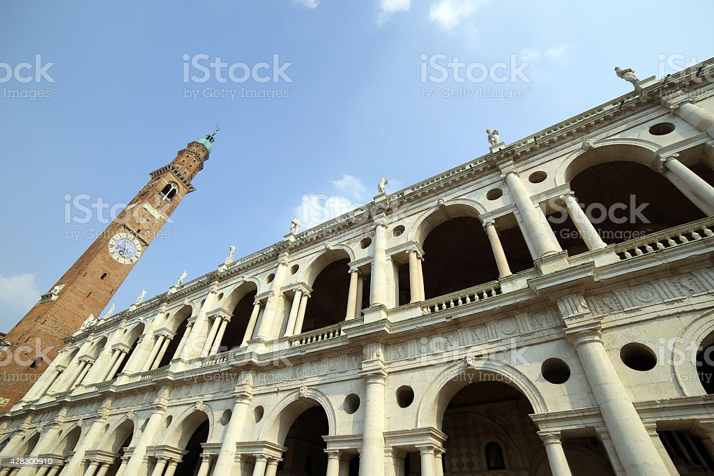 clock tower and the fantastic palladian basilica in Vicenza ital stock photo