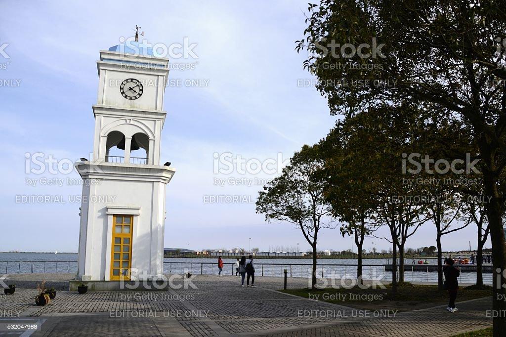 Clock tower at Dishui lake, Shanghai, China stock photo