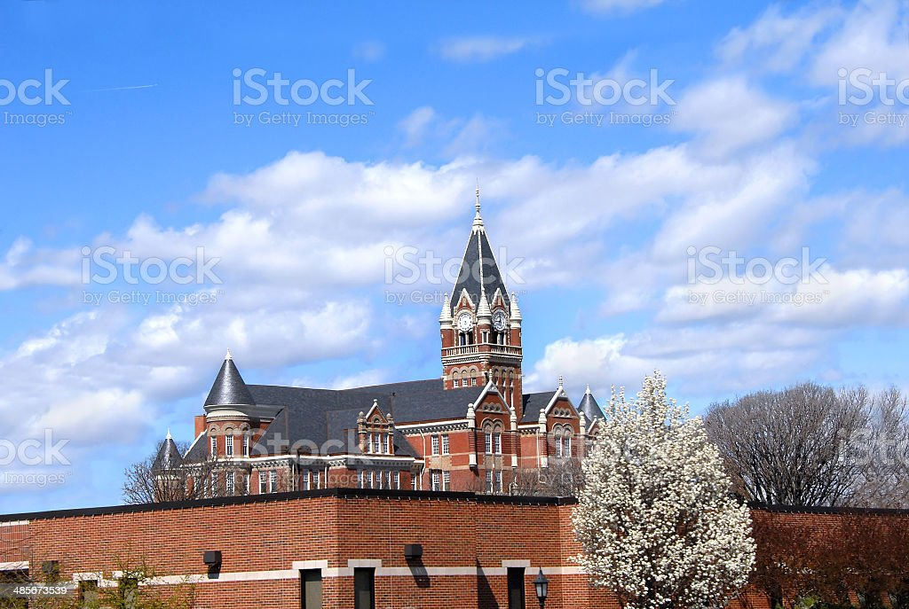 Clock Tower at Friends University stock photo