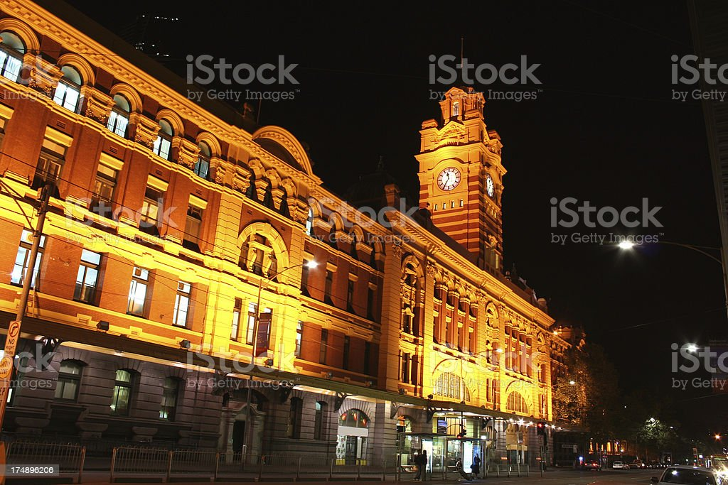 Clock Tower at Melbourne city stock photo