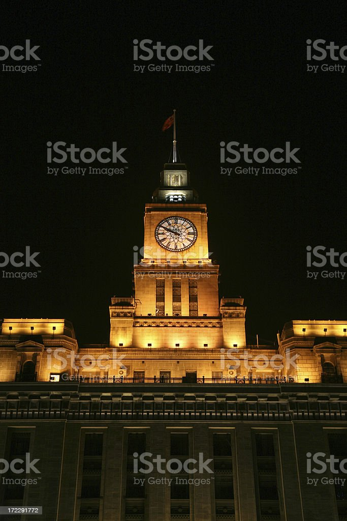Clock Tower At Night, Low Angle View royalty-free stock photo
