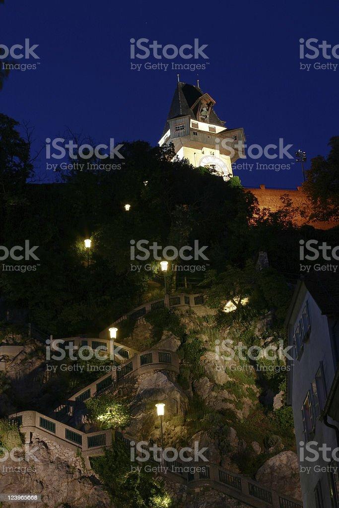 Clock tower at night royalty-free stock photo