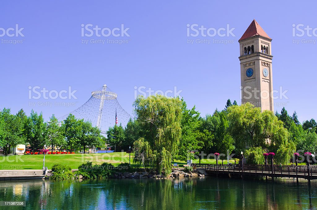 A clock tower at Riverfront Park in Spokane on a sunny day stock photo