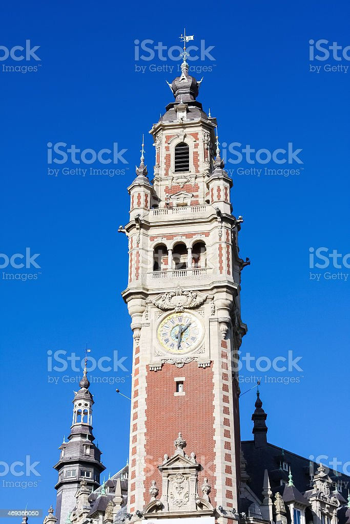 Clock Tower at the Chambre de commerce in Lille, France stock photo