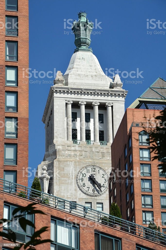 Clock tower at the NYC, America stock photo