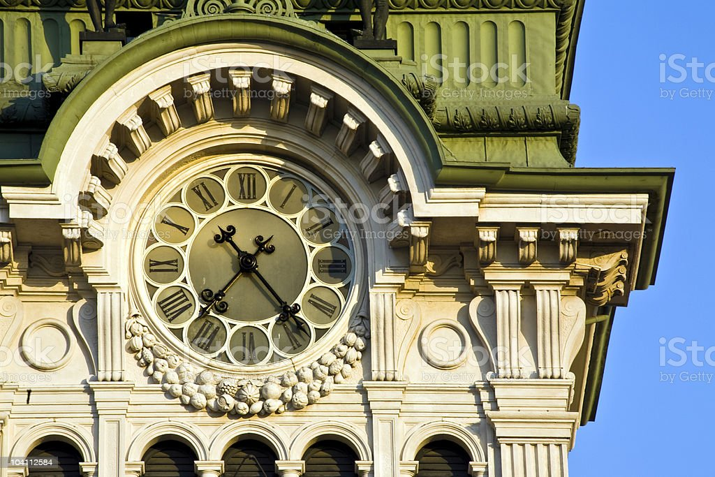 Clock tower at Trieste stock photo