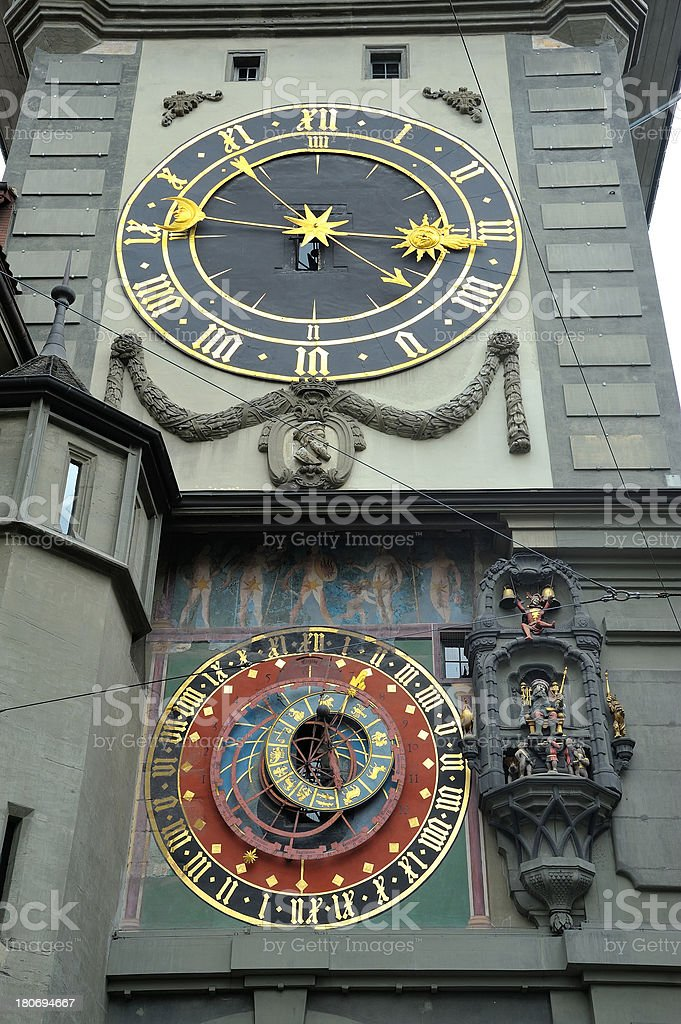Clock Tower detail, Bern stock photo