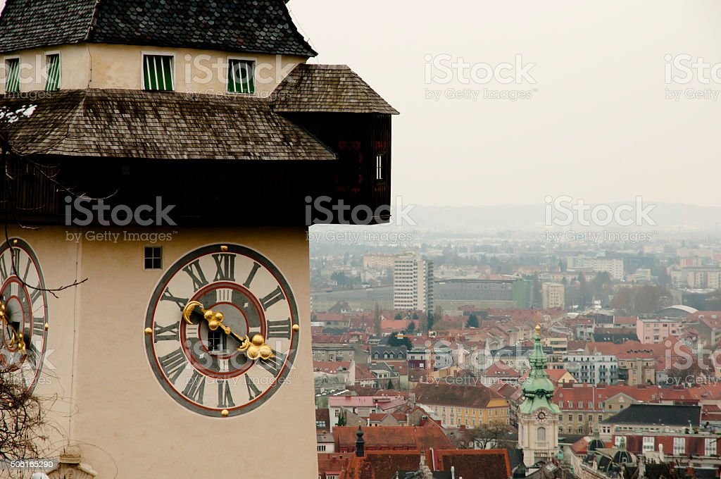 Clock Tower Graz - Austria stock photo
