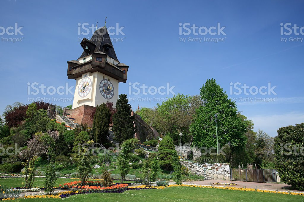 Clock tower Graz stock photo