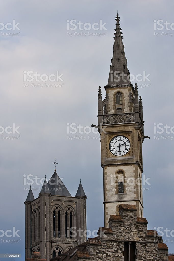 Clock tower in Gent, Belgium. royalty-free stock photo