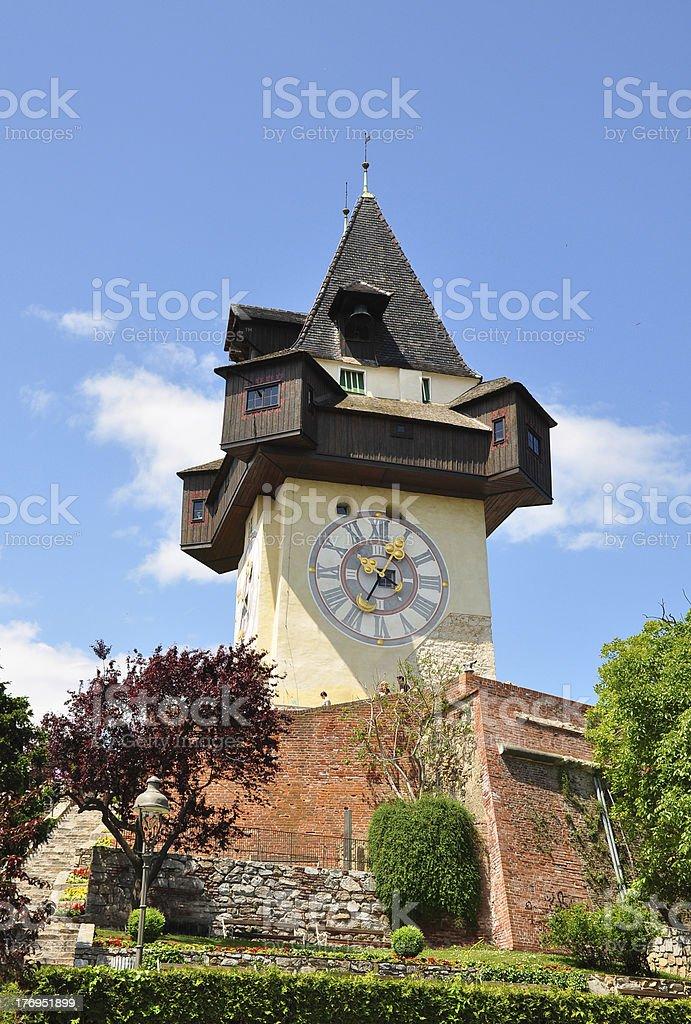 Clock tower in Graz, Austria stock photo