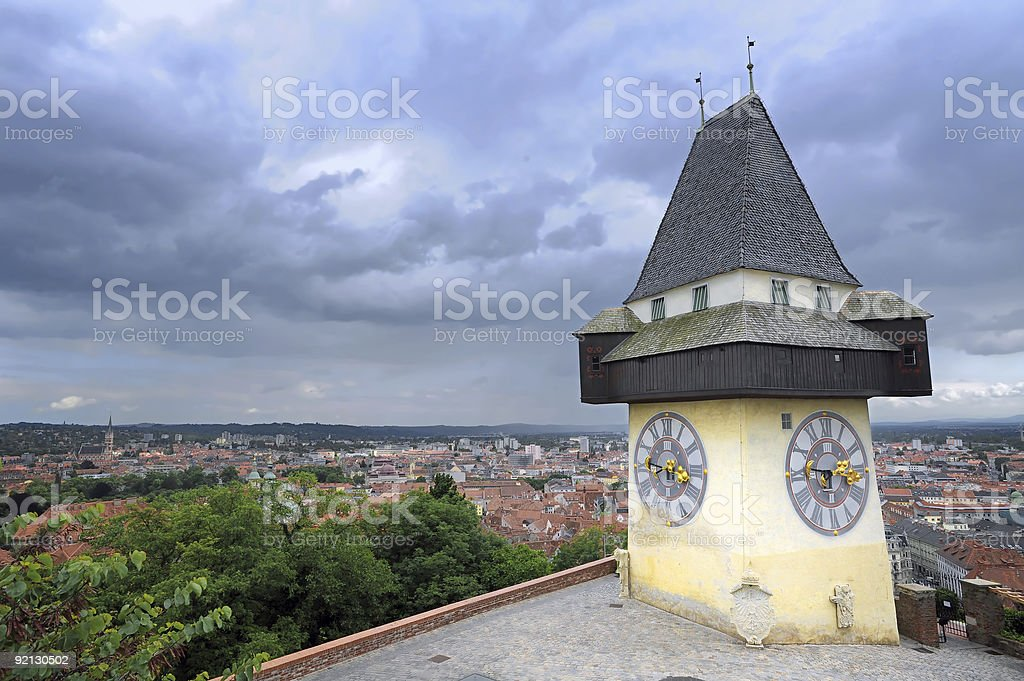 Clock tower in Graz royalty-free stock photo