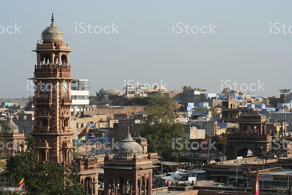 Clock tower in Jodhpur stock photo