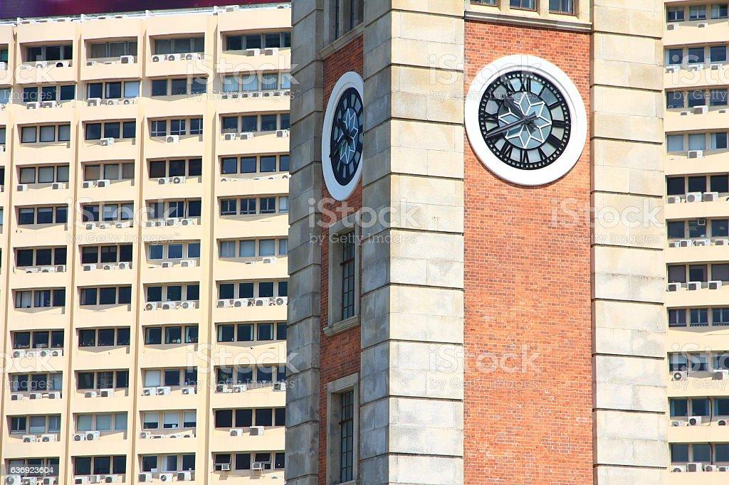 Clock Tower in Kowloon, Hong Kong stock photo