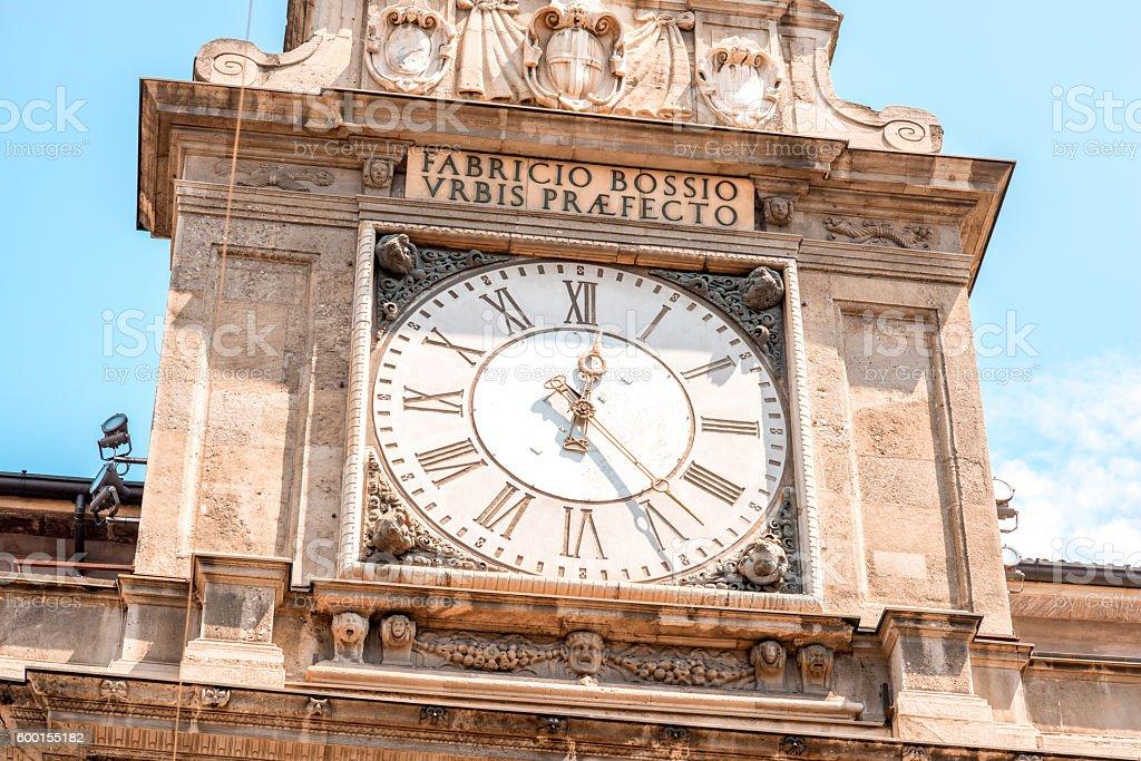 Clock tower in Milan stock photo